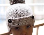 Instant download - Crochet Hat PATTERN (pdf file) - Pom-Pom Hat