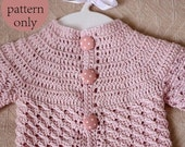 Instant download - Cardigan Crochet PATTERN (pdf file) - Polka Dot Baby Cardigan