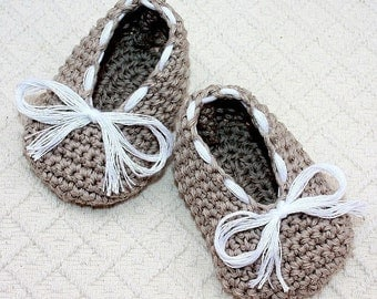 Instant download - Crochet PATTERN for baby booties (pdf file) - Baby Ballet Flats