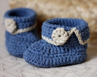 Crochet PATTERN for baby booties - Short Cuff Baby Boots