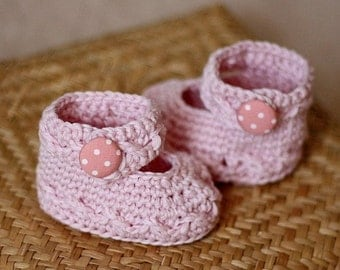 Instant download - Baby Booties Crochet PATTERN (pdf file) - Polka Dot Baby Mary Janes