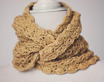 Crochet PATTERN  - Mustard Infinity Scarf - Cowl