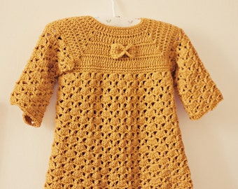Crochet PATTERN  - Mustard Bow Dress (sizes up to 4 years)