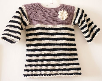 Crochet PATTERN  - Striped Tunic Dress (sizes up to 4 years)