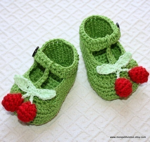 Free Crochet Pattern T Strap Booties : Crochet PATTERN pdf file T-strap Cherry Baby Booties