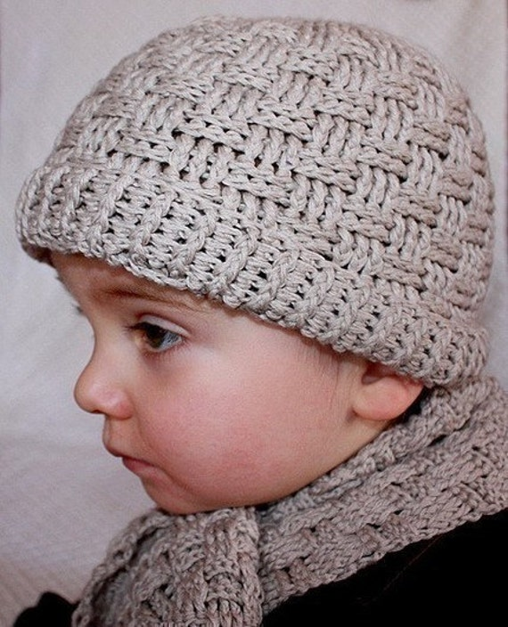 Instant download - Hat Crochet PATTERN (pdf file) - Basketweave Boy Hat and scarf
