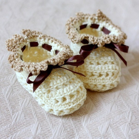 Instant download - Crochet PATTERN for Baby Booties (pdf file) - Milky Baby Booties