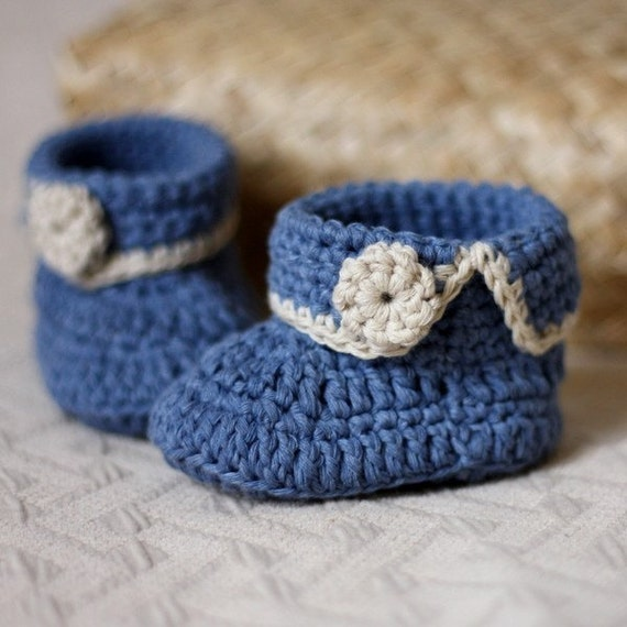 Instant download - Crochet PATTERN for baby booties (pdf file) - Short Cuff Baby Boots