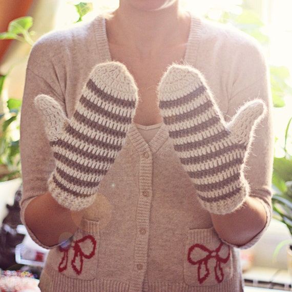 Crochet PATTERN - Striped Mittens (adult, teen, child sizes included)