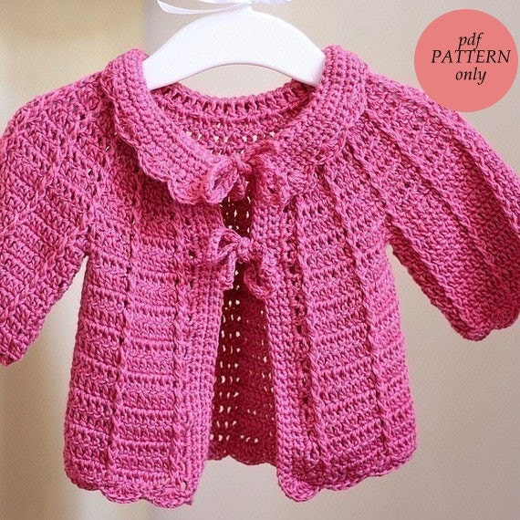 Crochet Baby Patterns Beginners : Crochet PATTERN Candy Pink Baby Cardigan