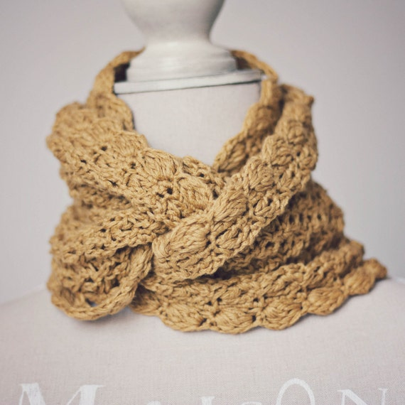 Instant download - Crochet PATTERN (pdf file) - Mustard Infinity Scarf - Cowl
