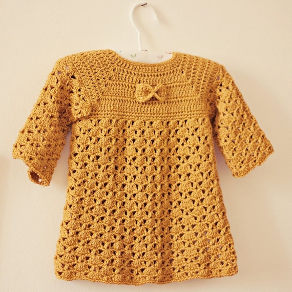 Dress Crochet PATTERN - Mustard Bow Dress (sizes up to 4 years)