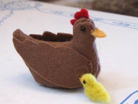 Brown Hen with Chick- Sewn Wool Felt - ships for FREE in the US