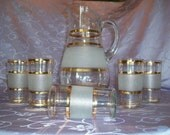 Vintage 1934 Lemonade Set or Ice Tea Pitcher and 5 glasses w/ Gold/Frosty Banding,On the Veranda, S A L E