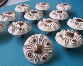 1 Cottage Chic White & Brass Knob Hollywood Regency, Bonaventure Knobs, Amerock Hardware, Dresser Knobs
