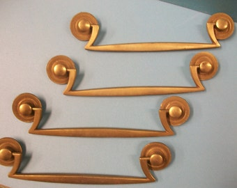 "1 KEELER  Mid-Century Modern Brass Swing Drawer Pull,K10827 and K7568,6"" oc,Art Deco Asian feel,Drawer Pulls,Mid Century Hardware"