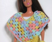 Yellow, White and Pastel Dress, Poncho and Purse Set - Barbie or Fashion Doll