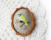 wooden brooch lime green bird embroidery pin wood setting