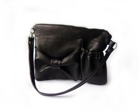 bow pocket bag black leather