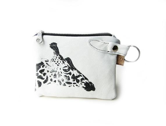 leather wallet white giraffe screenprint pouch zippered