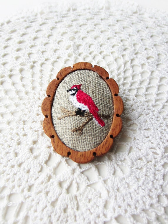 wooden brooch red bird embroidery pin wood setting