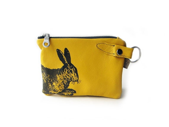 leather wallet yellow rabbit Custom order for Hila from Israël