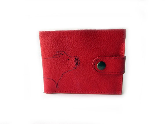 leather billfold wallet red pig folding coin wallet
