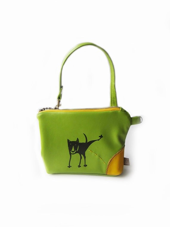leather purse peeing dog pouch lime green screenprint bag
