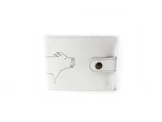 leather billfold wallet white pig folding coin wallet