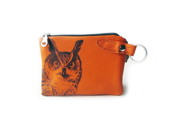 leather wallet orange owl zippered coin purse
