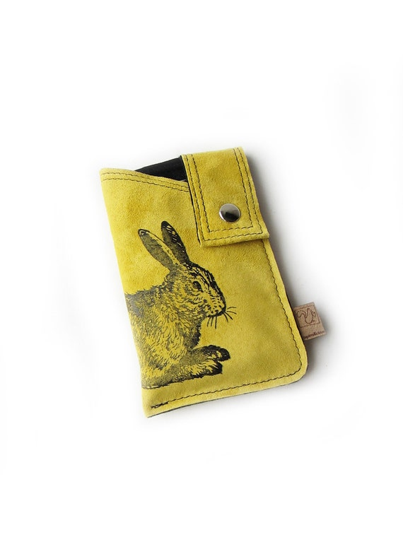 yellow leather cellphone case rabbit screenprint suede sleeve