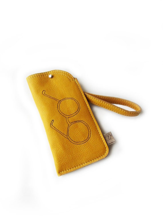 leather glasses case yellow glasses purse