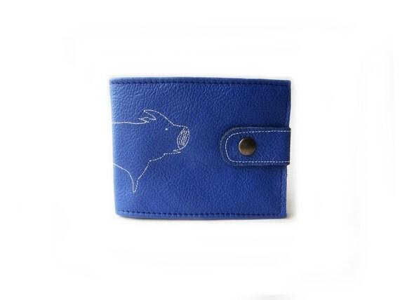 leather billfold wallet blue pig folding coin wallet