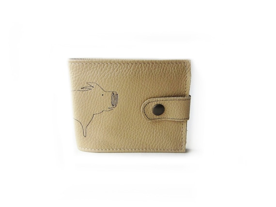leather billfold wallet beige pig folding coin wallet