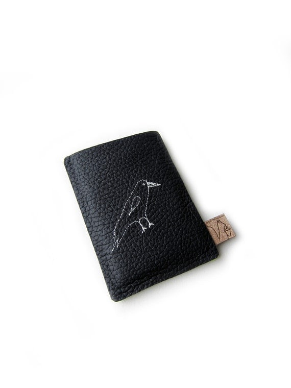 leather creditcard holder bird black leather case