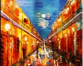 Night Rain Red Umbrella Abstract Impressionism Art-Original Painting- Modern contemporary