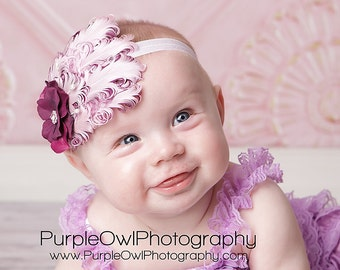 Pink Baby Feather Headband - Pink/Plum Curly Feather Headband - Newborn Headband - Toddler/Girl Fascinator Headband - Photo Prop/Pageant