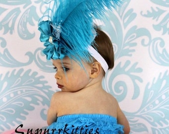 Baby Mini Top Hat Fascinator Headband - Turquoise & White Baby Flower Hat - Vintage Toddler/Girl Top Hat - Pageant Fascinator, Photo Prop