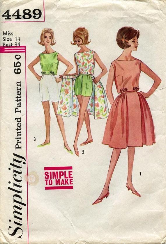 Vintage 1960s Simplicity 4489 PREPPY BOW BLOUSE Skirt Shorts Pattern Size 14