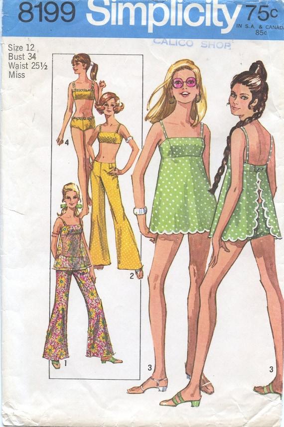 1969 Vintage Simplicity 8199 MOD BABYDOLL Swimsuit and Hip Hugger Pants Size 12