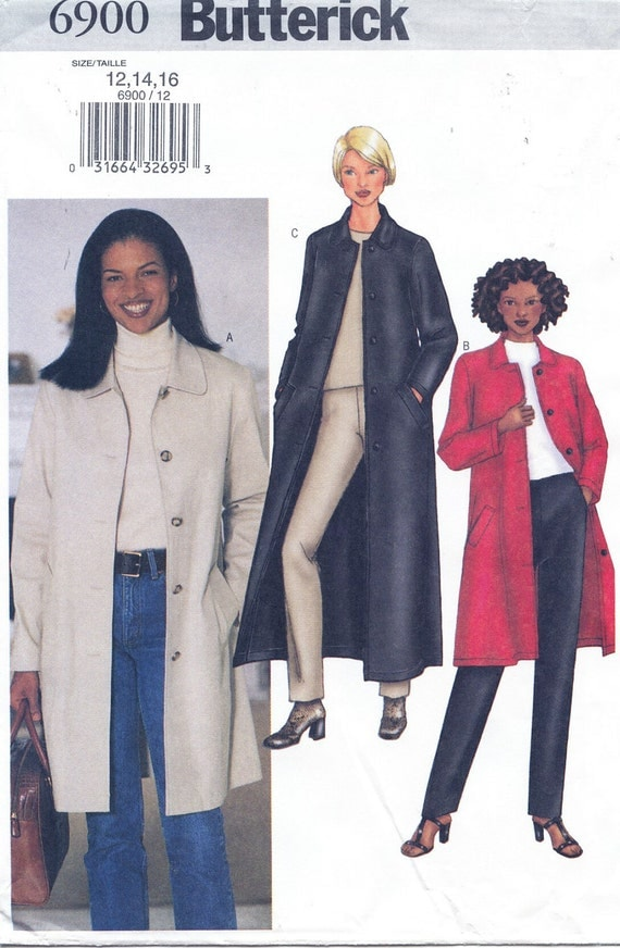 Butterick 6900 All Weather Coat Sizes 12-14-16