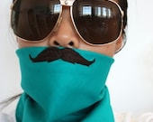 embroidered MOUSTACHE BANDANA teal bandana with black mustache