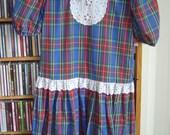 SALE 80's Plaid Bibbed Dolly Dress X/S