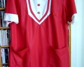 60s Mod Mini Red and White Tuxedo Dress L