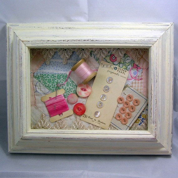 Shabby Elegant Sewing Shadow Box