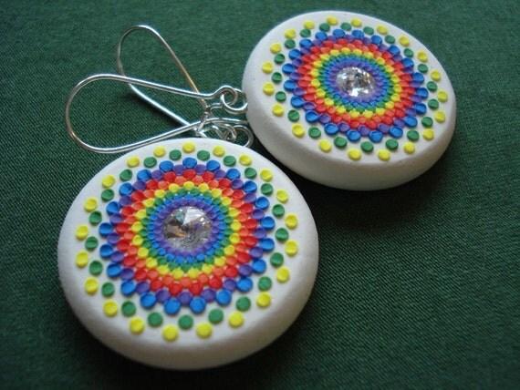 rainbow kaliedescope earrings