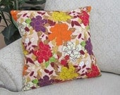 Floral Cushion Throw Pillow Cover Decorative Magenta Purple Orange Yellow 18 x 18 Bohemian Soul