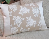 Snowflake Decorative Throw Pillow Cover Lumbar Cushion Cover Beige Ivory - 12 x 16 Floral Majesty