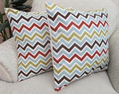 Modern Chevron Pillow Covers, Decorative Couch Cushion Covers, Ice Blue, Red, Brown Throw Pillows - Set of Two - 18 x 18 Zig Zag