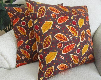 REDUCED - Fall Decor, Fall Cushion Covers, Decorative Brown Autumn Pillow Covers, Orange, Gold, Purple Leaf - Set of Two - 18 x 18